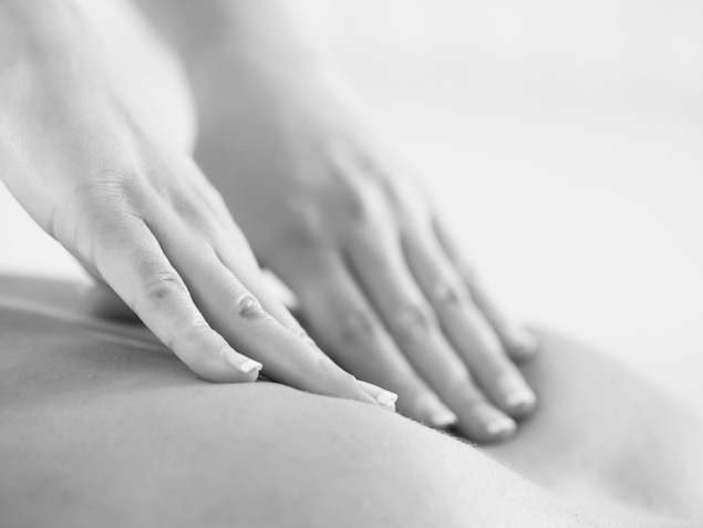 Close-up of a back massage.
